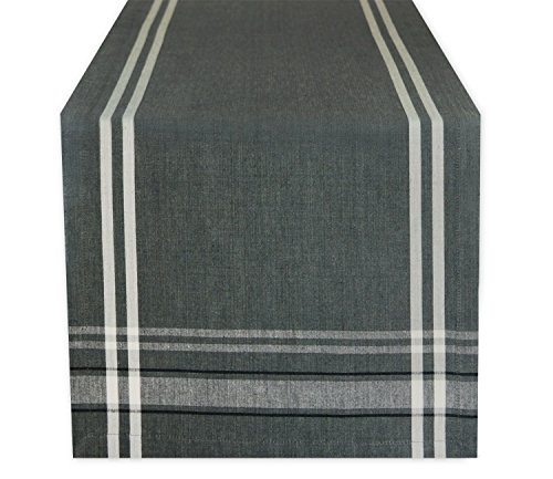 DII 100% Cotton Everyday French Stripe Tabletop Collection, Table Runner, 14x108, Gray Chambray