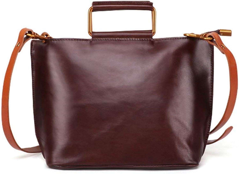 Sturdy Fashian Lsdy Messenger Handbag Soft Leather Shoulder Handbag Multifunction Tote Handbag Briefcase Large Capacity (color   Coffee color)