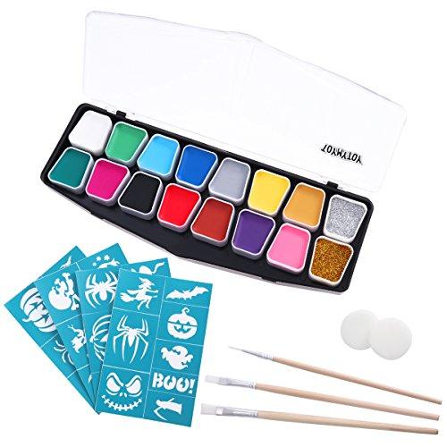 Toyvain Kit da 14 Colori per dipingere Il Viso Articoli per Feste di Halloween per Bambini