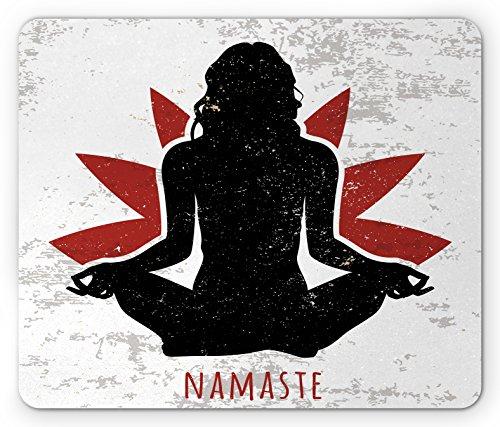Ambesonne Yoga Mouse Pad, Grunge Display Woman in Lotus Pose The Flower Backdrop Rejuvenation Namaste, Rectangle Non-Slip Rubber Mousepad, Standard Size, Orange White