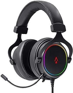 Monoprice Dark Matter Supernova USB Gaming Headset - 53mm, Virtual 7.1 Surround, Detachable ANC Mic, PU Leather/Aluminum, ...