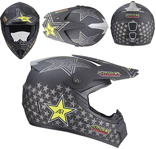 TIANDU ATV Motocross Helmet Dirt Bike Helmet + Goggles + Gloves Motorcycle BMX MX Downhill Off-Road MTB Mountain Bike Helmet DOT Approved,Sub Black 03,M