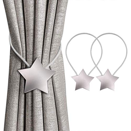 TYX-SS (2Pcs) Magnetic Curtain Buckletiebacks Metal Curtain Hooks Straps Holder Clips for Home Office Decoration,Silver