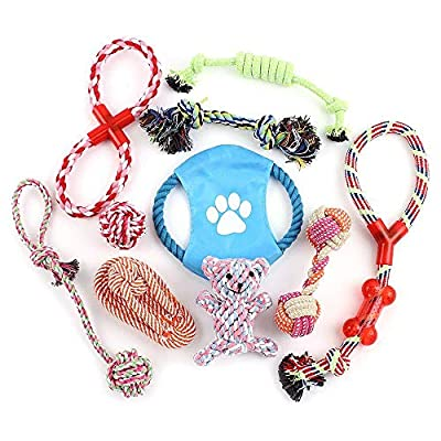 VIROSA Dog Rope Toys | Pack of 10 | Chew Toys For Puppy | Interactive Toys For Dogs | Cotton Rope Toys For Dogs | Cotton Toys For Puppy | Ideal for Small/Medium/Large Dogs