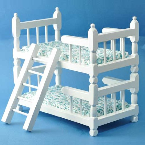 Aztec Imports, Inc. Dollhouse Miniature White Wooden Bunk Beds with Ladder