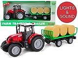 Toyland® 38cm Red Tractor & Bale Trailer mit Lichtern & Sound - Farmspielzeug