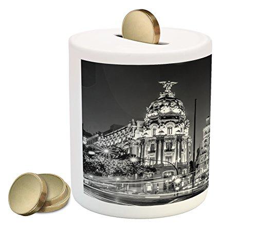 Ambesonne Hucha de cerdito blanco y negro, ciudad de Madrid en la noche en España Main Street Architecture, banco de monedas de...