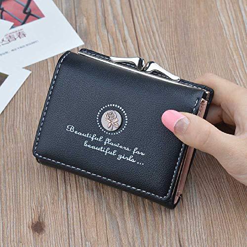 Zhuao lederen portemonnee voor dames, korte portemonnee met ritssluiting, creditcardtas