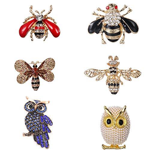 LWZko 6 Piezas Conjunto de Broche de Mujer, Broches de Animales, Colorido Vintage con Diseño de Forma de Animal de Búho Abeja Broches de Cristal para Traje de Suéter, Accesorios, Favores de Fiesta