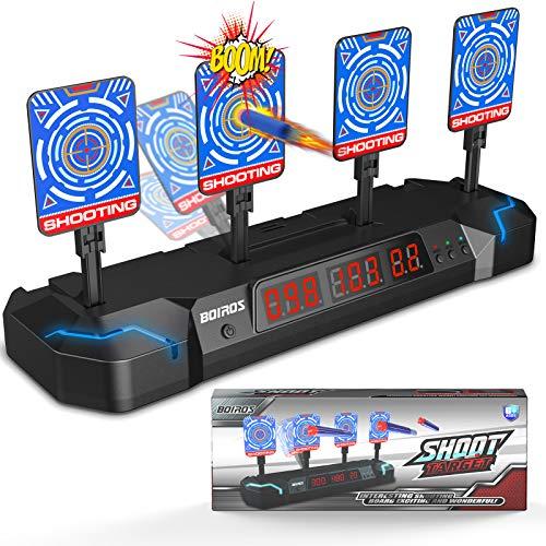 BOIROS Digitale Zielscheibe für Nerf, 4 Zielscheibe mit Licht und Sounds, Auto-Reset Elektro-Schießscheiben Spielzeuggeschenk für Kinder