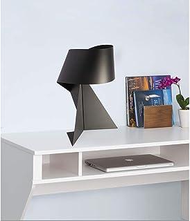 HtapsG Lampe de Table Lampe LED Origami Noir Black White Iron Personnalité Creative Table Lampe Lampe de Lampe Noir et Bla...