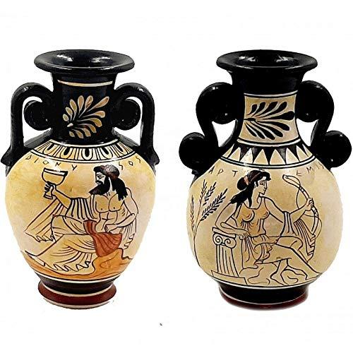 Conjunto de 2 ático blanco griego floreros 13cm, dios Dioniso, diosa Artemisa