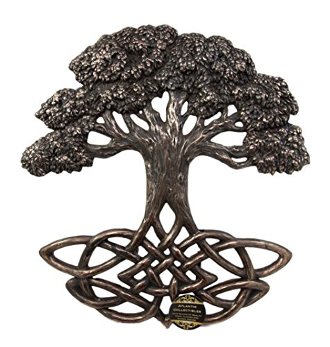 Ebros Gift Celtic Yggdrasil Tree of Life With Symbolic Knotwork Root System Decorative Wall Plaque Decor Figurine 13'H Wicca Heaven And Earth Spiritual Connection Link Accent