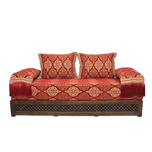 Canapé oriental marocain avec rembourrage et coussin de dossier - Assise de siège arabe - Sark Kösesi - Salon de salon avec structure en bois de marrakesch