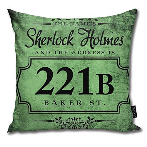 BLUETOP The Name's Sherlock Holmes Pillow Cover, 18 x 18 Inch Winter Holiday Farmhouse Cotton Cushion Case Decoration for Sofa Couch