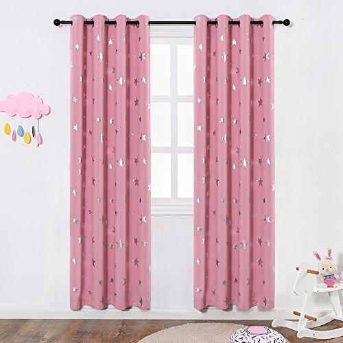 Anjee Blackout eyelet Cortinas plateadas de estrella Cortinas de 2 paneles con aislamiento térmico 46 x 72 pulgadas para habitación de niños guardería Cree una habitación de ensueño rosa para niños