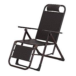 CHGDFQ Chaise en osier inclinable pause déjeuner pliant rotin salon bureau sieste chaise balcon maison paresseux chaise…