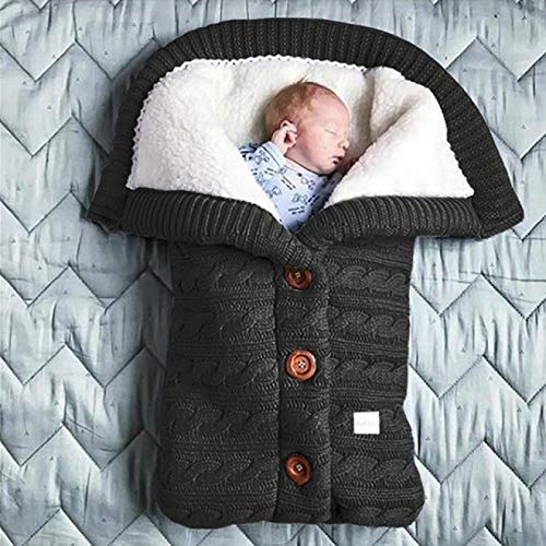SENFEISM Swaddle Blanket Autumn and Winter Baby Stroller Sleeping Bag Outdoor Button Baby Knitted Sleeping Bag Wool Brushed and Thick