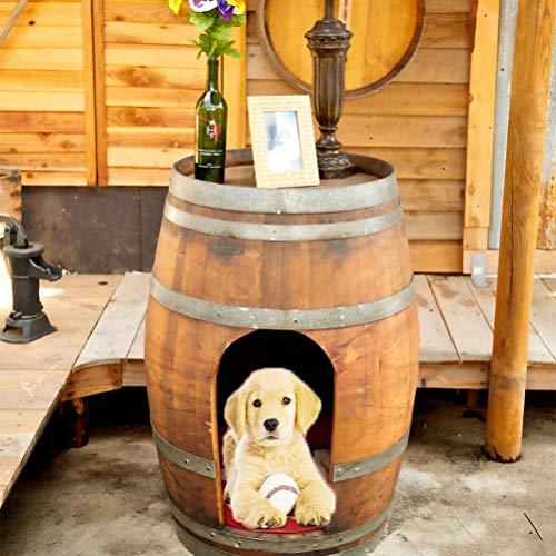 Zhyaj Rattan Garten Möbel, Hundehütte Outdoor Holz Vintage Weinfass Hundezwinger Für Kleine Und Mittlere Hunde