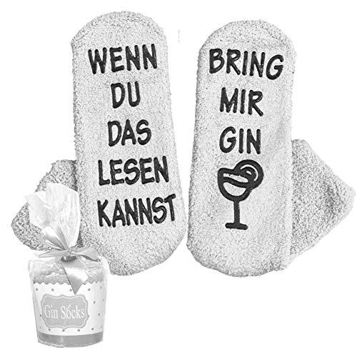 Flauschige Luxus Gin Socken WENN DU DAS LESEN KANNST BRING MIR GIN Lustige Kuschelsocken/originelles Geschenk für Damen zu Weihnachten, onesize (Gin Socken deutsch grau)