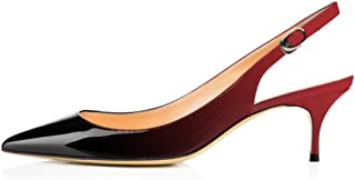 vocosi Slingbacks Pumps for Women,Low Kitten Heels Comfortable Pointy Toe Pumps Shoes
