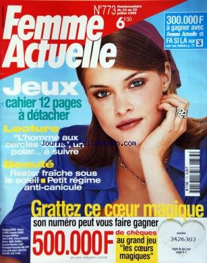 FEMME ACTUELLE [No 773] du 19/07/1999 - JEUX / 12 PAGES -L'HOMME AUX CERCLES BLEUS / UN POLAR A SUIVRE -RESTER FRAICHE SOUS LE SOLEIL -