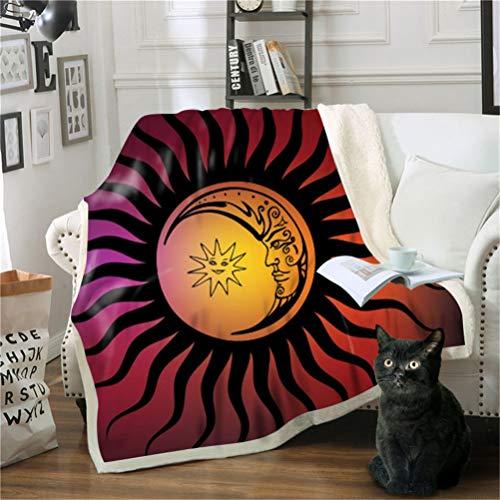 Manta con Estampado Luna Sol Hippie Acogedora De Felpa Sherpa De Cálida Manta para Niños Y Adultos 150 X 200 cm