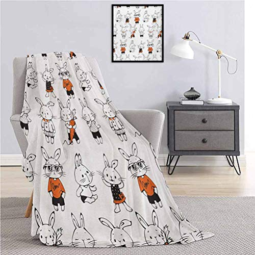 Divertida manta súper suave para decoración de conejos retro con trajes Jack Hare Funky conejos zanahoria estilo bosquejo durable sofá cama de viaje 160 x 70 pulgadas naranja blanco