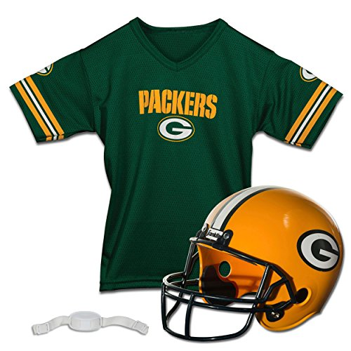 Franklin Sports NFL Green Bay Packers Kids Football Set, Includes Helmet, Chinstrap and Jersey