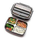 Milopon Brotdose Edelstahl, Bento Box Mit 4 Fächern und Besteck Lunchbox für Kinder Und Erwachsene Brotzeitbox Plastikfrei Brotbüchse