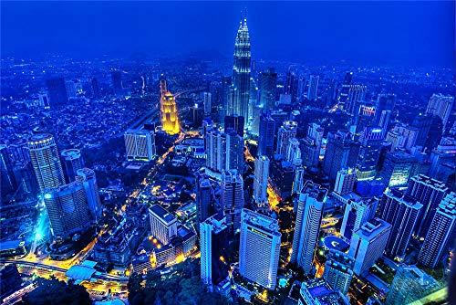 zhangshifa Puzzles 1000 Pieces,Azul Paisajes Urbanos Rascacielos Torres Petronas Malasia Rompecabezas De Paisajes Naturales,Juego De Jigsaws Puzzle para Niños Adultos-75 * 50Cm(Puzzle De Pintura)
