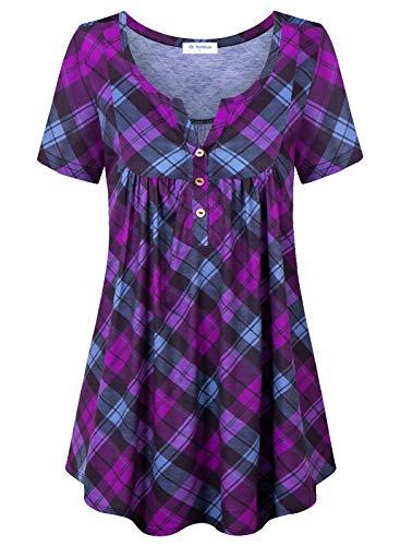 Bulotus Tunic Tops for Leggings for Women Short Sleeve Henley V Neck Summer Flowy Blouses, Black Purple Plaid, Medium