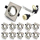10 unidades GU10 Downlights empotrables LED Plafón Foco cuadrado cromo cepillado ajuste