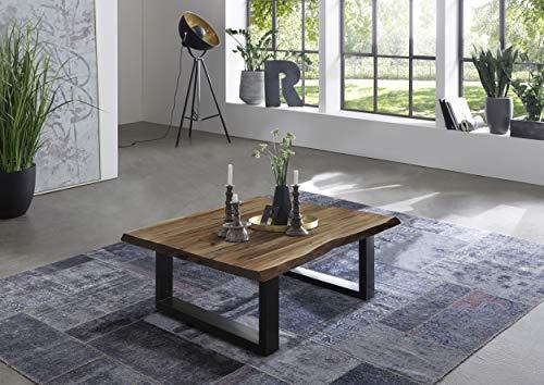 SAM Couchtisch 80 x 80 cm Quintus, echte Baumkante, massiver Beistelltisch aus Akazienholz, naturfarben, Metallgestell schwarz