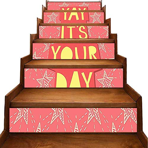 3D Colorful Stair Stickers Yay Its You Day Inspiring Motivational Positive Quotation with Stars Art Print Orange Stair Riser backsplash Refurbished Stair Treads, W39.3 x H7 inch
