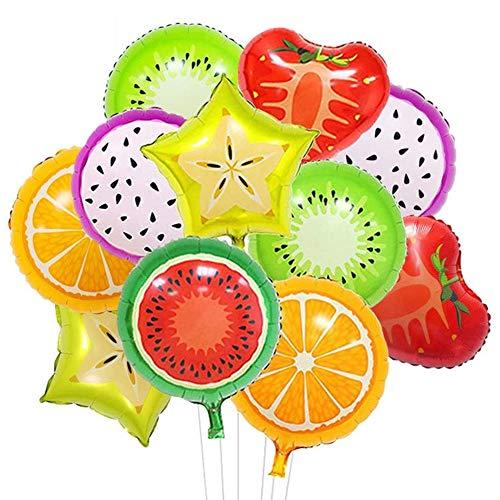 Decoraciones para fiestas temáticas de verano, 18PCS Fruta Foil Balloons, Para la decoración de la fiesta de cumpleaños de niño / niña