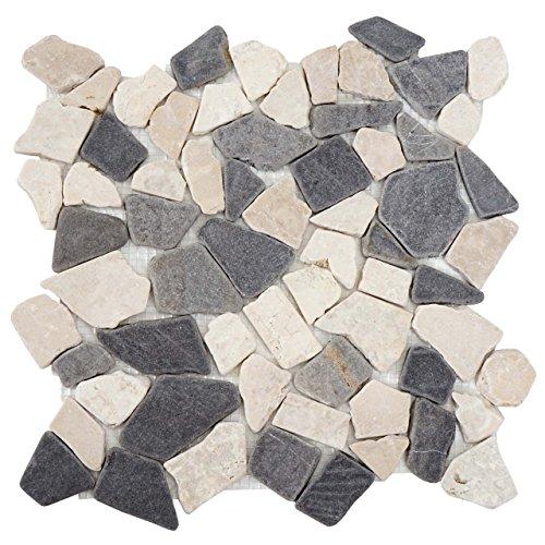 Mendler Steinfliesen Vigo T687, Marmor Naturstein-Fliese Mosaik, 11 Stück je 30x30cm = 1qm ~ grau-weiß