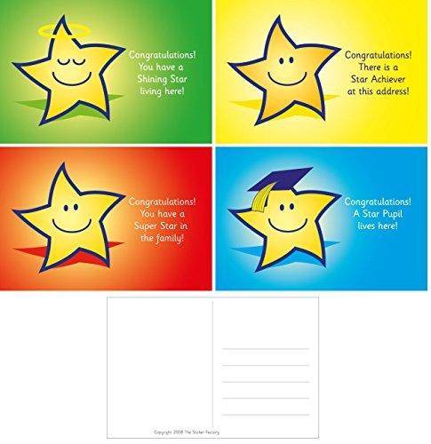 32 A6 Star beloning ansichtkaarten: gemengde bijschriften: 8 elk van 4 ontwerpen