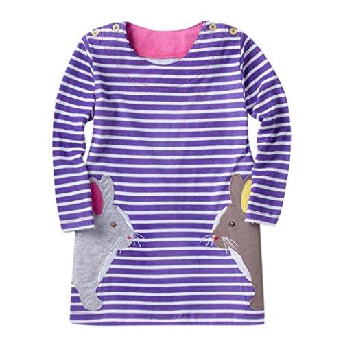 JERFER Mädchen Crewneck Langarm Casual Karikatur Stickerei Party T-Shirt Kleid Kinderkleider Festliche 2-8 T/Jahre (G, 6T)