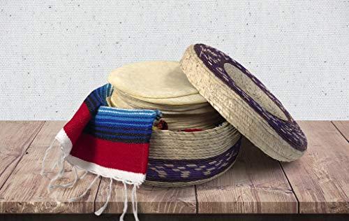 2 Stück echter mexikanischer handgewebter Tortilla-Korb | Fiesta mexikanischer Tortilla-Halter | Tortillero | Palm-Strohkörbe handgefertigt in Mexiko | mexikanische Schalen (traditionell, 2er-Pack)