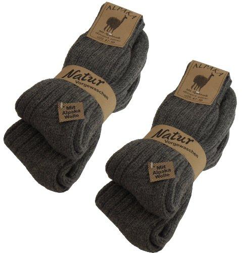 Brubaker 4 Paar Alpaka Socken Dunkelgrau Gr. 39/42 - Ökologisch gefärbt!