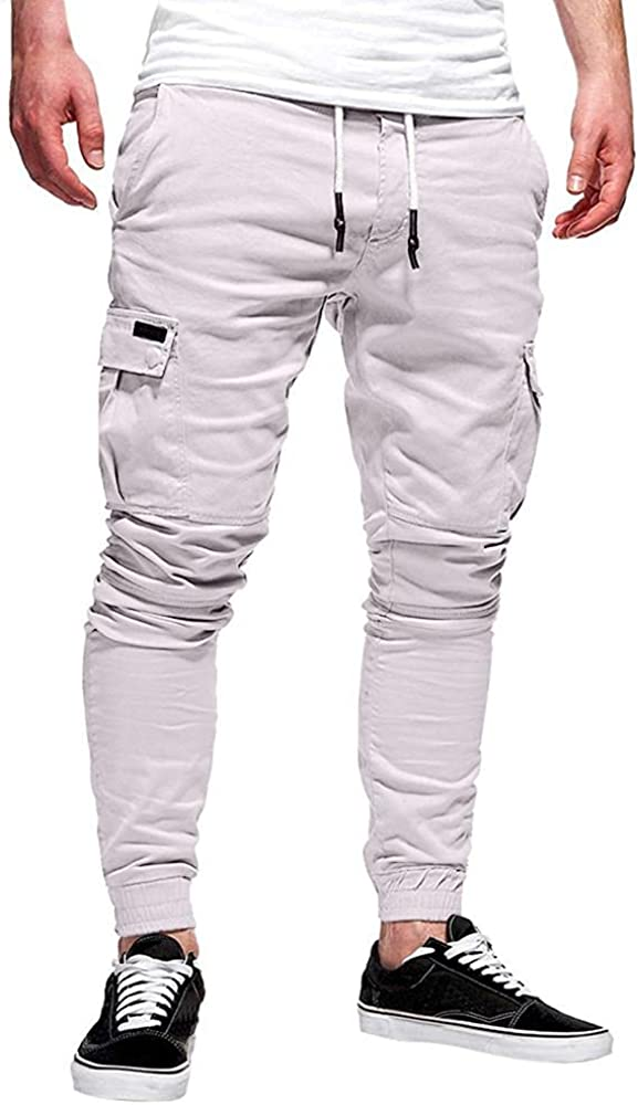 Mens Cargo Joggers Sweatpants Pants Casual Workout Gym Tapered Trousers Slim Fit Chino Pants with Pocket