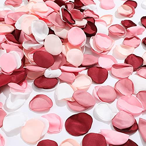 800 Stücke Seide Rose Blätter Rosa Künstliche Rosenblätter Simulierte Streusel Blume Blütenblatt Seide Rose Hochzeit Blütenblatt Rosa Blume Tisch Mittelstücke für Hochzeit Party, 5 Farben