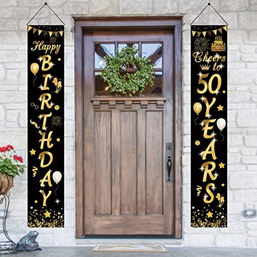 APERIL 2 Piezas Banner de cumpleaños 50 Años Negro y Oro, Feliz Cumpleaños Pancarta Cartel de Porche Juego de Decoración para Fiesta Temática Banner de Porche de Bienvenida