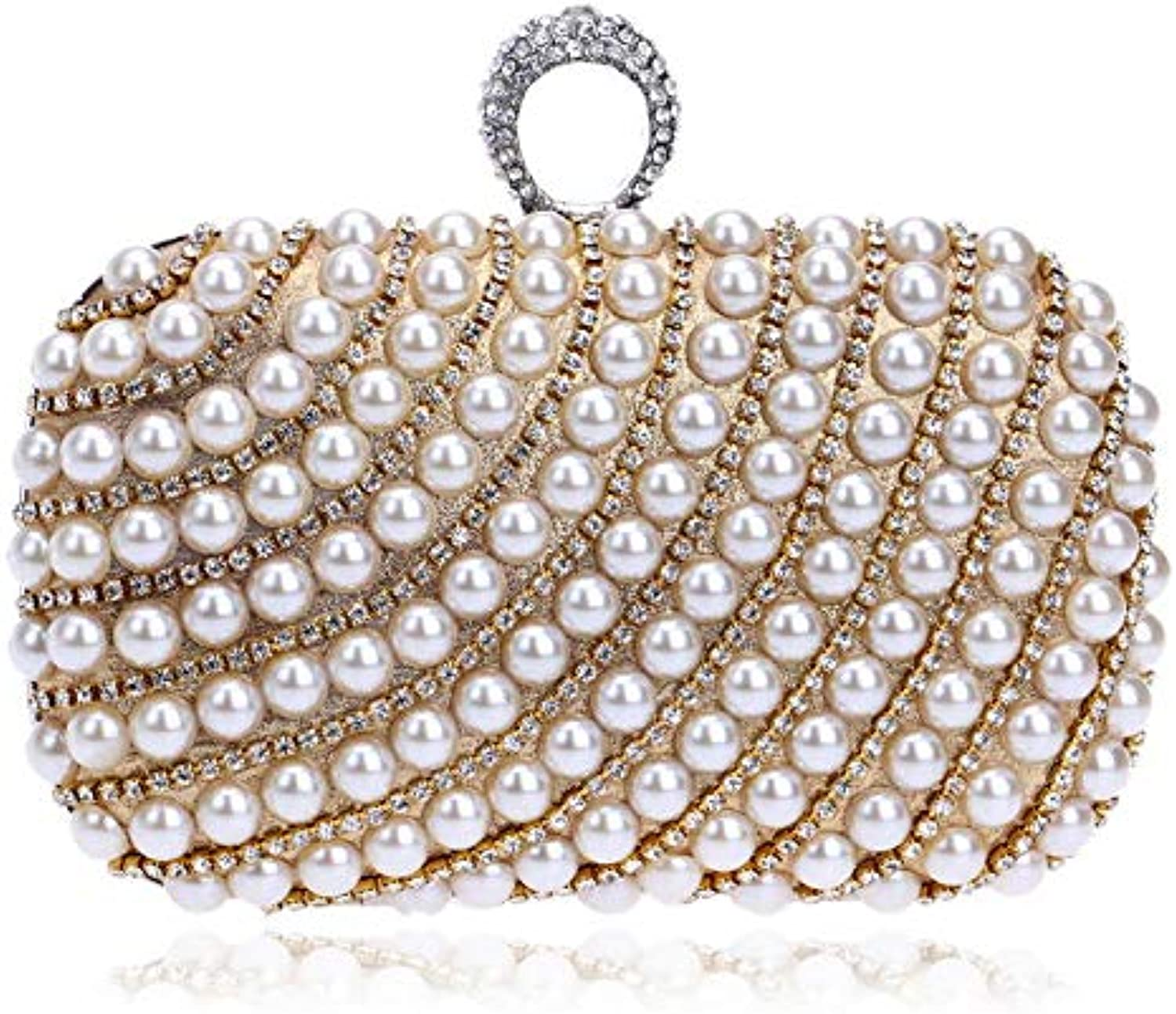 ASHIJIN Pearl Studded Diamond Evening Bag with A Diamond Handbag Women Rhinestone Wedding Clutch Party Bags