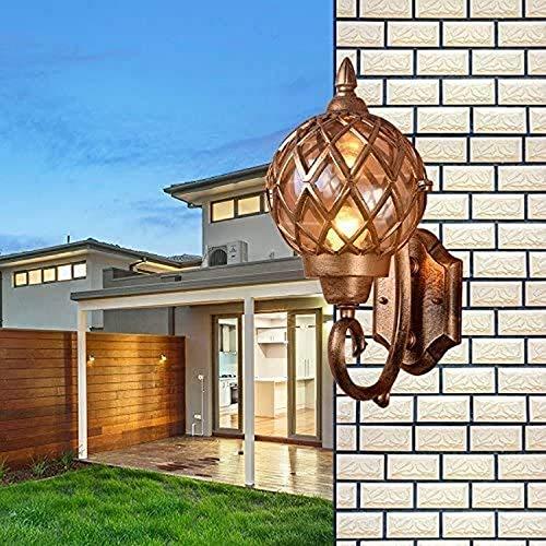 YZ-YUAN Lámpara de Pared para Exteriores, Vintage Clásico Color de latón Rústico Impermeable Lámpara de Pared para Exteriores Tradicional Pasillo Jardín de Invierno Balcón Porche Lámpara de Pared Ap
