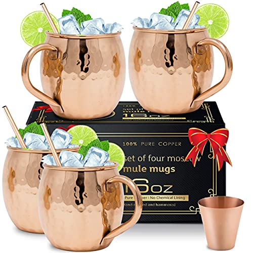 Moscow Mule Copper Mugs with 4 Straws and Shot Glass - Set of 4 HandCrafted Food Safe Pure Solid Copper Mugs - Bonus Highest Quality Copper Shot Glass and 4 Copper Straws - Attractive Box