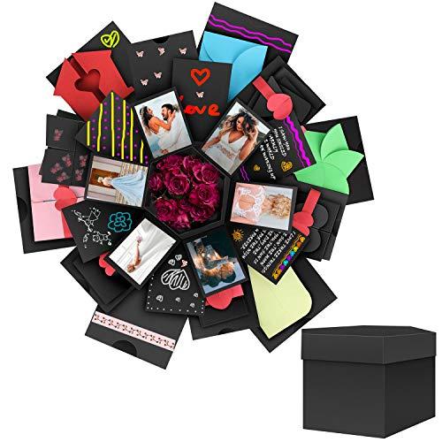 DIY Boite Album-Photo pour Anniversaire//F/ête //No/ël Enshant Coffret Cadeau Surprise,Explosion Gift Box,Creative Surprise Explosion Bo/îte Main Noir