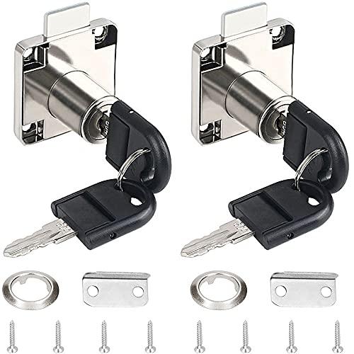 GZGXKJ 2 Piezas Cerradura de Cajones de Oficina, Cerradura Del Escritorio Cinc Aleación Cam Cerradura de Seguridad Para Buzón Taquillas Gabinete Armario & Mesa Ordenador Escritorio Cajón
