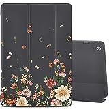 LuGeKe Funda para iPad de 10,1 pulgadas 2019 (7ª generación), con soporte delgado y suave TPU para iPad de 10,1 pulgadas de 2019 (7a generación), diseño de flores, color negro